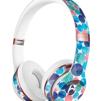 Mixed Aqua Blue and Pink Watercolor Dots Full-Body Skin Kit for the Beats by Dre Solo 3 Wireless Headphones