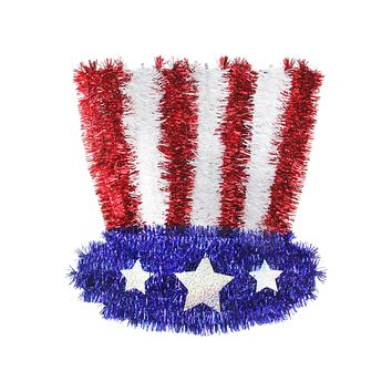 """13"""" Patriotic Uncle Sam Tinsel Hat 4th of July Window Decoration"""