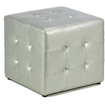 Cortesi Home Apollo Cube Ottoman, Metallic Silver Faux Leather