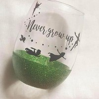 Disney Peter Pan Wine Glass, Glitter Wine Glass