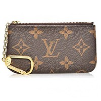 LV Louis Vuitton New Fashion Four Color Tartan Print Coin Purse Key Pouch