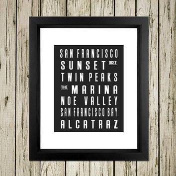 San Francisco City Subway Sign Printable Instant Download Print Poster City Name Art Typography Home Decor  Wall Art S027