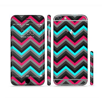 The Sharp Pink & Teal Chevron Pattern Sectioned Skin Series for the Apple iPhone 6s Plus