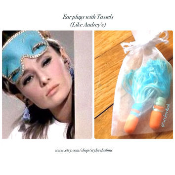 Ear Plugs With Tassels. Comes with little bag. Blues and minty greens. Pretty Nap accessory. Custom orders available.