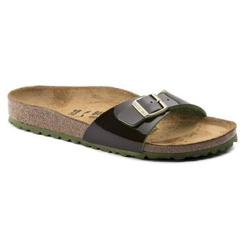 Sale Birkenstock Madrid Birko Flor Patent Two Tone Espresso 1007975 Sandals