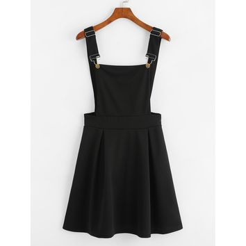 Pleated Zip Up Back Pinafore Dress Black
