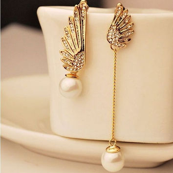 Chic Korea Elegant Wedding Bride Pearl Clear Crystal Women Earrings