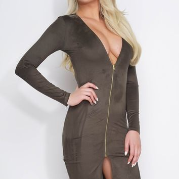 Mckenna Lace-Up Midi Dress - Olive