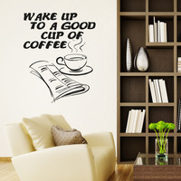 Vinyl Wall Decal Sticker Wake Up Coffee #OS_AA1422