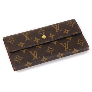 LV Louis Vuitton Trendidng Women Print Leather Buckle Wallet Purse(4-Color) I