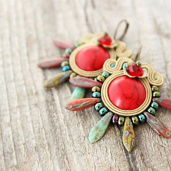 Red spike earrings, red boho earrings, spiky bohemian earrings, soutache jewelry, boho jewelry, thorny earrings