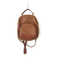 ESPRIT Backpack 90s Rucksack Shoulder Bag Purse Hipster Revival 1990s School College Pack Brown Faux Leather Knapsack