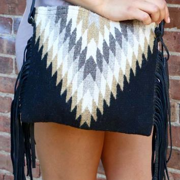 Midnight Diamond Fringe Cross body Bag Purse