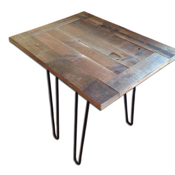 Custom Barnwood Tables - Repurposed from reclaimed wood & steel hairpin legs. Beautiful custom rustic furniture with old world character.