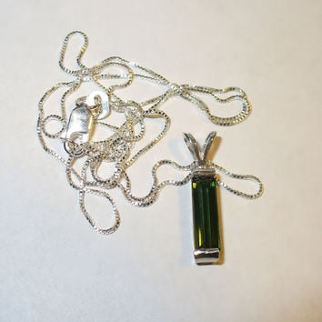 Genuine Tourmaline Pendant Necklace in Sterling Silver