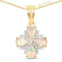 14K Yellow Gold 1.18CT Genuine Ethiopian Opal & White Topaz Pendant Necklace