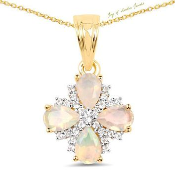 14K Yellow Gold 2.85TCW Genuine Ethiopian Opal & Diamonds Pendant Necklace