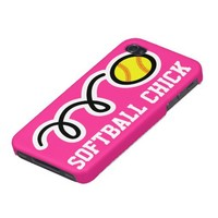 Softball chick iPhone case | Pink phone cover iPhone 4 Cases from Zazzle.com
