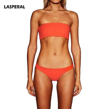LASPERAL Sexy Two Piece Bikini Set Women 2018 New Solid Women Bandeau Biquini Push Up Swimsuit Cropped Swimwear Maillot De Bain
