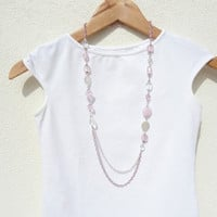 Long Pink Beaded Necklace, Beaded Necklace with Pink Silver Glass and Crystal