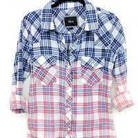 Rails Ashton Ombre Bleach buttondown shirt blue/white