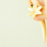 Fake gauge beige flower, Fake floral piercing, expander for her, fake plug lily, fake tunnels,a polymer clay