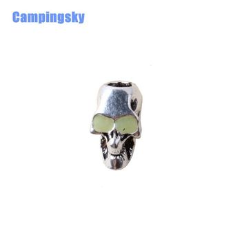 CAMPINGSKY paracord  accessories skull alloy bead pendant  for Paracord Bracelet the eyes glow in the dark