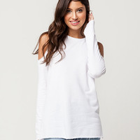 WHITE FAWN Cold Shoulder Womens Sweatshirt | Sweatshirts + Hoodies