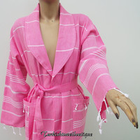 BATH ROBE-Traditional Turkish-High Quality Hand Woven Turkish Cotton Spa,Yoga,Travel From Peshtemal-White Stripes on Pink
