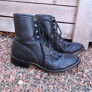 Black Justin roper boots / size US 5 / EU 35 / vintage Justin ropers / black leather cowboy boots / lace up western ankle boots