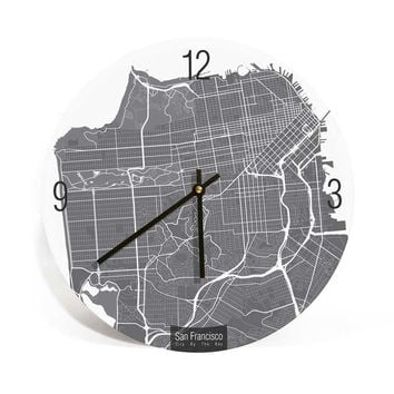 San Francisco, California, Map Art Wall Clock