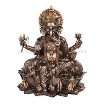 Ganesha Ganesh Seated on Lotus Throne Hindu Statue, Bronze Finish