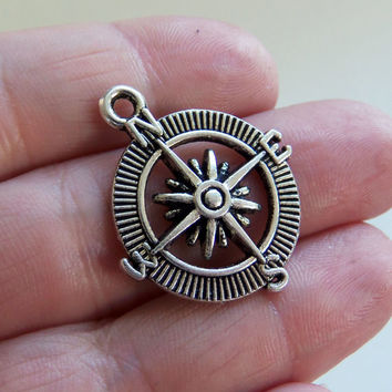 8 Compass charms, compass charm, compass pendant, compass jewelry, nautical charms, wanderlust, long distance relationship charm - F399