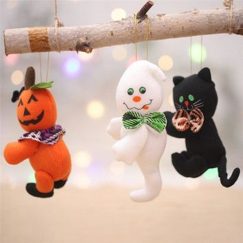 Halloween Decorations Little Doll Black Cat Ghost Pumpkin Pendant Children Gifts Bar Home Halloween Festive Event Party Supplies