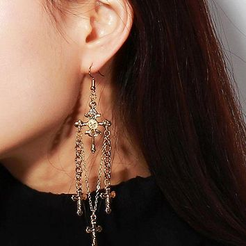 DCCKJ1A Accessories antique exaggerated o fan long earrings alloy diamond - diamond cross pendant earrings female.