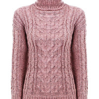 Pink Jumper with High Neck