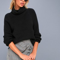 Park City Black Cowl Neck Knit Sweater