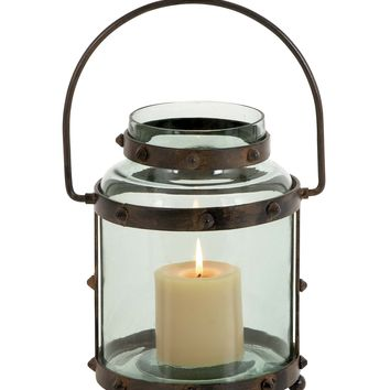 Metal glass lantern with pointed studs design