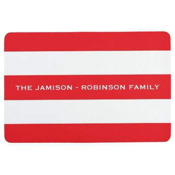 Red and White Stripe Custom Floor Mat with NAME