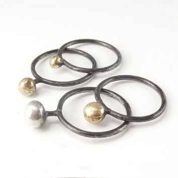 "RING ""Galaxy /  VENUS and MARS"" in Sterling Silver and Gold metal. Modern, Minimalistic. Hammered, Forged, Stackable."