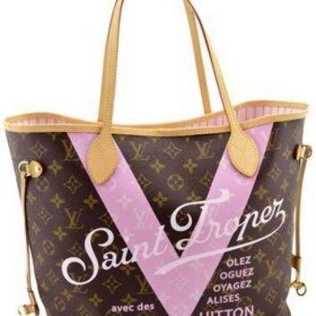 PEAPYD9 Louis Vuitton Pink Monogram V Neverfull Mm Saint Limited Edition Brown Tote Bag