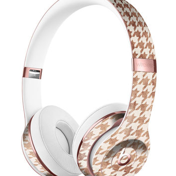 Grungy Tangerine Houndstooth Pattern Full-Body Skin Kit for the Beats by Dre Solo 3 Wireless Headphones