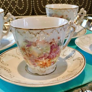 4 Antique Tea Cup and Saucer Sets, Hand Painted Floral, Pink Tea Cups, Bridal Shower Tea Party Gift, Porcelain Teacups