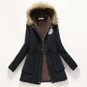 Parka Woman Winter Coat - Casual Hooded Thickening Cotton Coat Winter Jacket with Fur - Military Outwear