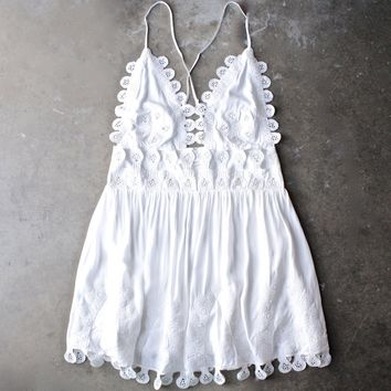 summer lace mini dress - coconut