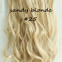 "20""  One Piece 3/4 Full Head Clip in Hair Extensions Synthetic Curly Wavy sandy Blonde"