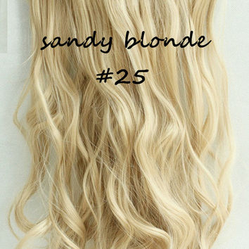 """20""""  One Piece 3/4 Full Head Clip in Hair Extensions Synthetic Curly Wavy sandy Blonde"""