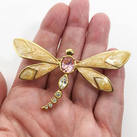 Rhinestone Dragonfly Pin, Marbled Enamel Winged Flying Insect, Pink & Clear Rhinestones, Modern Vintage KJL for AVON Signed Brooch