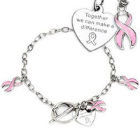 Pink Ribbon Bracelet - Pink Enamel Filled Stainless Steel Symbol Of Fight Against Breast Cancer Bracelet