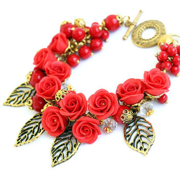 "Bracelet and Earrings ""Amour"" Red Bracelet Red Roses Bright Floral Bracelet Flowers of Polymer Clay Feminine Jewelry Rusteam Red Gold"